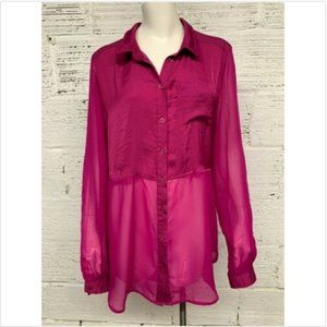 Free People Size L Sheer Button Down Blouse